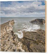 Sea Meets Rocks At Howick Wood Print