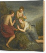 Sea Nymphs Discovering The Hair Of Medusa Turning To Coral Wood Print