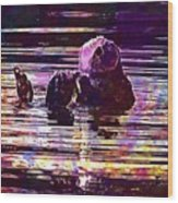 Sea Otter Swimming Floating Water  Wood Print