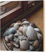 Sea Shells And Stones On Windowsill Wood Print