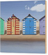 Seaside Beach Huts Wood Print