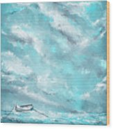 Sea Spirit - Teal And Gray Art Wood Print