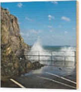 Sea Spray At Mevagissey Harbour Wood Print