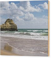 Sea Stack Sculpted Like A Ship Riding The Waves Wood Print