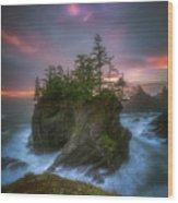 Sea Stack With Trees Of Oregon Coast Wood Print