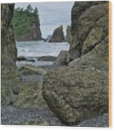Sea Stacks And Boulders Washington State Wood Print