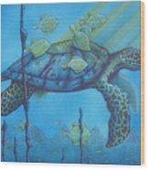 Sea Turtle And Fish Wood Print