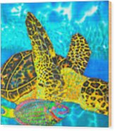 Sea Turtle And Parrotfish Wood Print