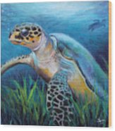 Sea Turtle Cove Wood Print