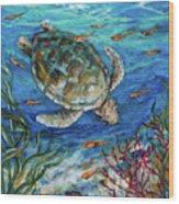 Sea Turtle Dive Wood Print