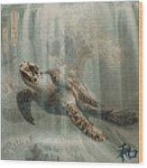 Sea Turtle Great Wave Wood Print