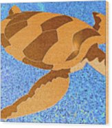 Sea Turtle Inlay In Vibrant Colors Wood Print