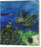 Sea Turtle Rendezvous Wood Print