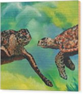 Sea Turtles And Dolphins Wood Print by Susan Kubes