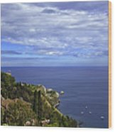 Sea View From Taormina Wood Print