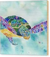 Sea Weed Sea Turtle  Wood Print