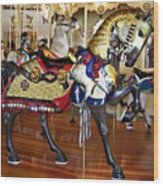 Seabreeze Carousel Armored Horse Wood Print