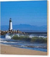 Seabright Beach Lighthouse With Surf Wood Print