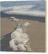 Seafoam Detail On Waters Edge Wood Print