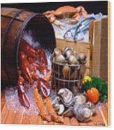 Seafood Fresh Wood Print by Vance Fox