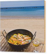 Seafood Paella In Cafe Wood Print