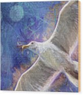 Seagull Against Blue Abstract Wood Print