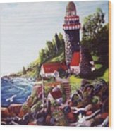 Seagull Cove And Lighthouse Wood Print