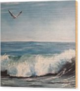 Seagull With Wave  Wood Print