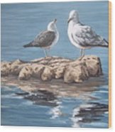 Seagulls In The Sea Wood Print