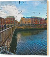 Seagulls Over Liffey Wood Print