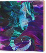 Seahorse In A Lightning Storm Wood Print