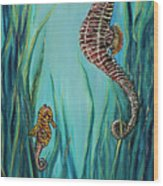 Seahorse Refuge Wood Print