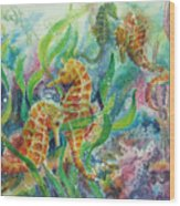 Seahorses Three Wood Print