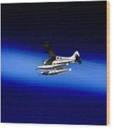Seaing Airways Flying Over North Head Wood Print