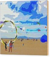 Seal Beach Kite Fly Wood Print
