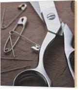 Seamstress Scissors Wood Print