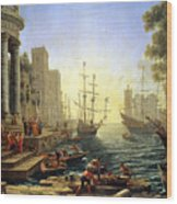 Seaport With The Embarkation Of Saint Ursula  Wood Print