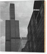 Sears Tower B-w Wood Print