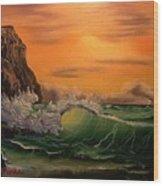 Seascape at Dusk Wood Print