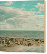 Seascape Cloudscape Retro Effect Wood Print