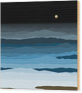 Seascape - Night Wood Print