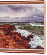 Seascape Scene On The Coast Of Cornwall L B With Alt. Decorative Ornate Printed Frame. Wood Print