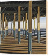 Seascape Walk On The Pier Wood Print