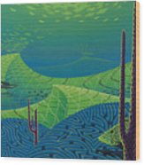 Seascape With Brain Coral And A Blue Striped Grunt Wood Print