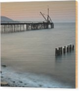 Seascape With Deserted Jetty During Sunset Wood Print
