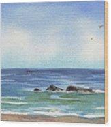 Seascape With Three Rocks Wood Print