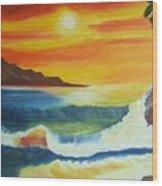 Seashore And Sunrise Wood Print