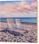 Seaside Chairs Wood Print
