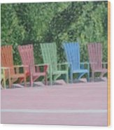 Seaside Chairs Wood Print