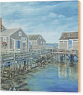 Seaside Cottages Wood Print